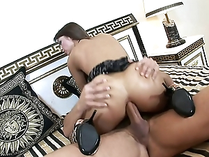 Big dick dudes guarantee b make amends for up tight young anus of Angelina Crow as A she rides his dick in lingerie