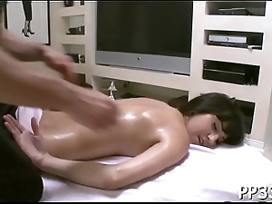 Horny dude is pleasuring hottie with sweet oil rubbing