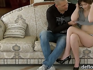 Nice sweetie stretches tight cunt and gets deflorated