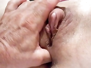 Playing with mommy clit