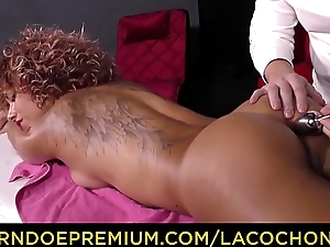 LA COCHONNE - French curly babe pest with an increment of pussy fucked