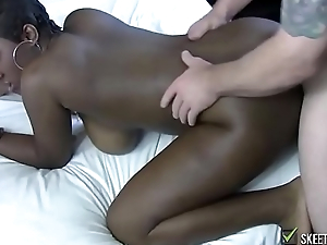Busty black bitch fucked