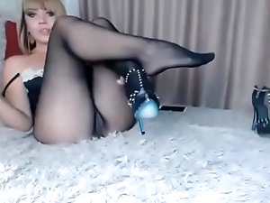 model touch pussy with an increment of see feet in seamless pantyhose