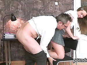 Sultry schoolgirl gets seduced and nailed off out of one's mind elder instructor