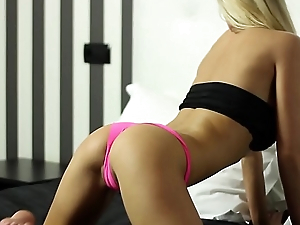 Good-looking blonde teasing surrounding will not hear of perfect body in this softcore video