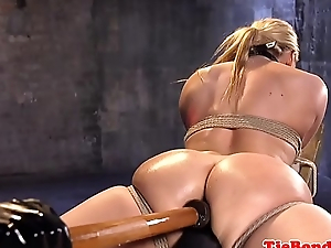 Tied sub gets anally dildoed wide of maledom