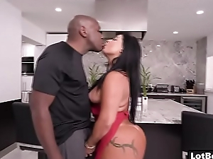 Fat boodle latina MILF gets black cock fucked doggystyle