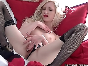 Petite Blonde in Downcast Lingerie and High Heels Vibes Her Clit to Two Orgasms