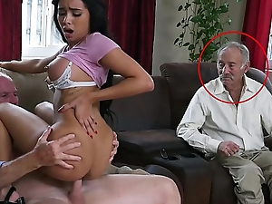 BLUE PILL MEN - Gorgeous Ebon Pornstar Aaliyah Hadid Takes These Old Men For A Ride!