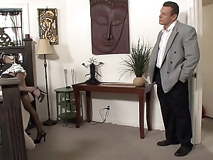 Buff stud gets his huge cock sucked by stunning maid Nikki Daniels then fucks outside