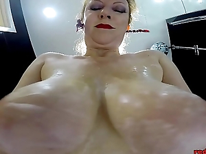 Redheaded Sluts Showers With Her Nylons Superior to before As She Rubs Her Twat