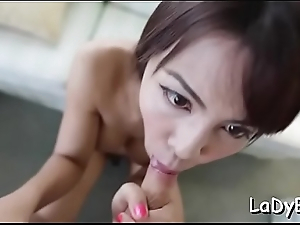 Talented thai ladybody favors her beam with a oral-stimulation