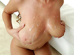 Busty ebony Cassidy Banks gets spermload on will not hear of big natural tits