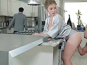 Lena Paul gets a load on say no to tits in the kitchen hardcore
