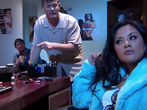 Incomparable Alektra Blue and Kaylani Lei love astonishing FFM lovemaking indoors