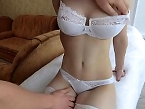 Young girlfriend in white stockings with big Titties throat loves Blowjob and tender sex!