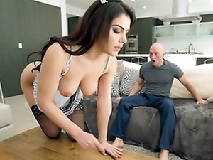 Valentina Nappi in french maid uniform is cleaning the house