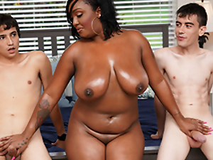 Ebony Mom Having Fun About Stepson and His Friend
