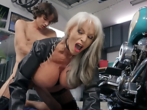 Sally D'Angelo gets pounded by young Ricky Spanish neighbouring her Harley