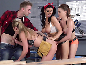 Romi Rain and her works colleagues work together on one XXX bulge