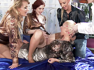 Blonde Adel Sunshine dominated by several XXX hotties who pee on her