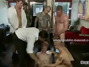 Nordic gay house-servant shaved and whipped by group of nasty masters in dirty group sex : Denmark Sweden Norway
