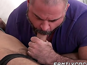 Daddy catches stepson jerking off and gives him a hand