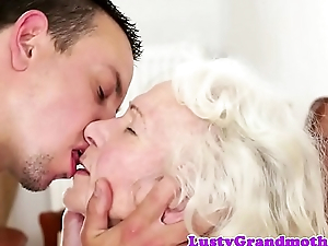 Bigtits granny loves gagging atop fat cock