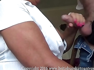 British of age amateur bends over and gets her White cotton panties fucked.